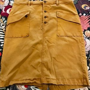 Anthropologie mustard colored skirt